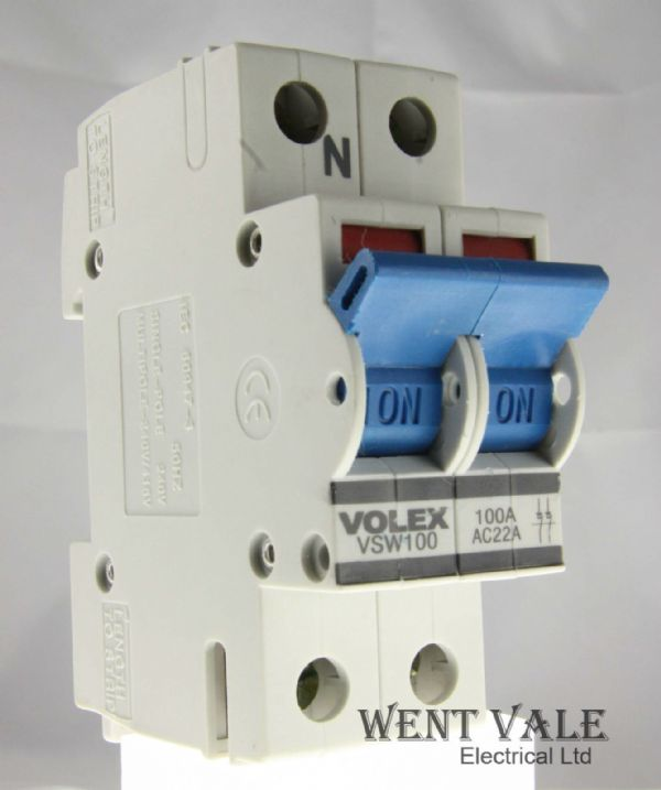 Volex - VSW100 - 100A Double Pole Main Switch Disconnector Used